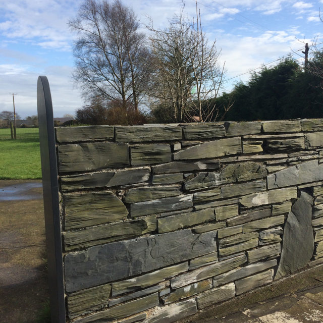 Pillared Welsh slate walling